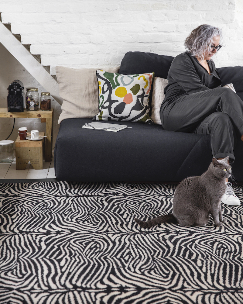 New Year projects, Kate with her rug Zebo, Make Me A Rug, Alternative Flooring (with Enid the cat)