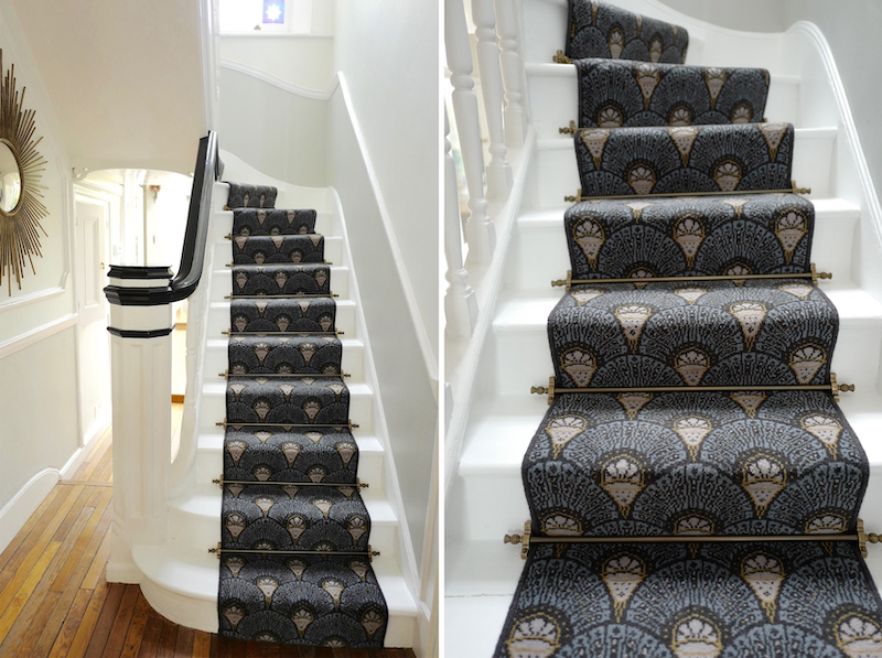 Quirky Deco stair runner in the home of Dee Koppang O'Leary